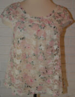 Women's Almost Famous Ivory Pink Floral Lace Sheer Short Sleeve Top S, M, L