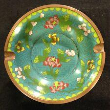 Antique or Vintage Chinese Cloisonne Ashtray Aqua Teal Green Floral T Fret