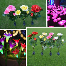 Solar Power LED Rose/Lily Flower Lights Garden Yard Backyard Outdoor Lamp Decor