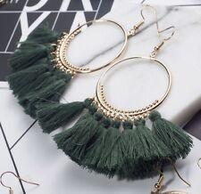 Earring Boho Festival Party Boutique Uk Dark Green Long Drop Tassel Fashion
