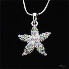 Starfish Asteroidea Sea Ocean Pendant Necklace Charm Crystal Multicolor Jewelry