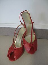Women's shoes ESCADA Coral Red Bow sandal sz 40 EU  8.5 or 9 US made Italy NEW