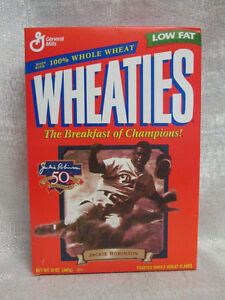 Jackie Robinson Brooklyn Dodgers 50th Ann Wheaties Never Been Open Cereal Box