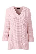 Lands End Lofty Cotton Textured V-neck Jumper Pink Size M Box46 84 J