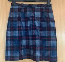 Racing Green Ladies Skirt 14 Navy Checked 100% Wool Smart Casual Work