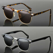 Polarized Women Men Vintage Designer Clubmaster Sunglasses Metal Half Frame