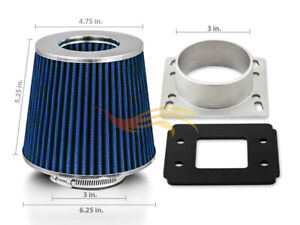 BLUE Cone Dry Filter + AIR INTAKE MAF Adapter Kit For Mazda 86-92 RX7 1.3 Rotary