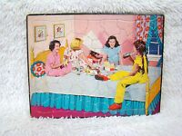 Vintage 1950-1960's Sta N Place Girls Slumber Party Tray Frame Cardboard Puzzle