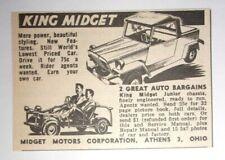 1959 King Midget Advertisement Midget Motors Corporation Athens, Ohio