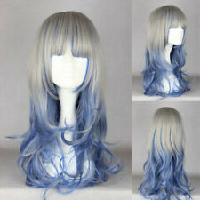 Ladieshair Cosplay Wig Perücke grau blau 60cm wellig Dipdyed Hair Karneval F7T