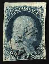 #7 1c Blue 1851 Blue Franklin Imperf TyII VF Used