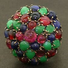 Vintage heavy 14K gold 22CTW ruby emerald sapphire cluster cocktail ring size 8