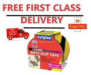 Sylglas Anti-Slip Tape 50mm x 3m Black & Yellow FREE FIRST CLASS DELIVERY