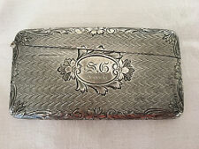 Antique STERLING Silver Curved Calling Card Case Date Marked 4-14-12
