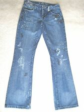 Brooklyn Girl Embelished Blue Jeans Denim Pants Sz 5 Juniors Sequins Embroidery