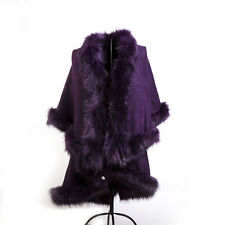 WOMEN LADIES DOUBLE LAYER FAUX FUR PONCHO FLEECE COLLAR CUFFS CAPE WRAP HOT