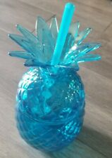 New! Pineapple Shaped Sipper Drinkware Cup With Lid & Straw Plastic Blue 22 oz