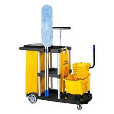Practical Janitorial Cleaning Cart Rolling Janitor UItility Cart w/ 3 Shelves