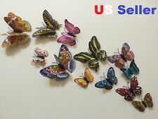 24pcs 3D Double Wing Butterfly Glow In Dark Wall Sticker Party Home Decal In Box