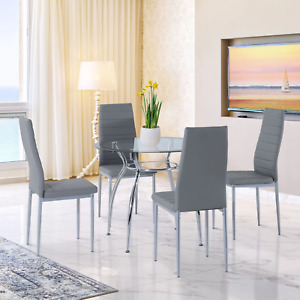 4 Seat Kitchen Dining Set Grey Glass Round Table Chairs Seat Modern Furniture