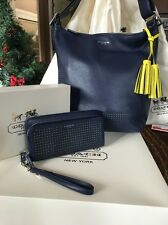 COACH Legacy Perforated Leather Duffle Navy Citrine 22762 Bag & 49000 Wallet