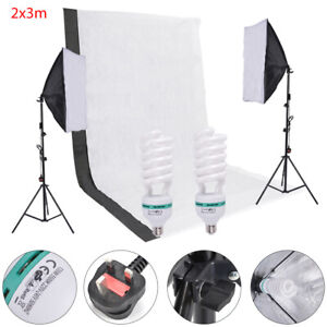 Photography Studio Backdrop Soft Umbrella Lighting Kit+Background Support Stand
