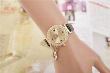 Jewerly Fashion Bling Crystal Women Lady Girl Analog Leather Quartz Watch Gift