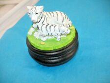 "White Tiger Mother & Baby Exotic Cat Music Box 4"" x 4.5"" ~ 42J7"