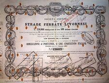 1864 STRADE FERRATE LIVORNESI  * OBBLIGAZIONE  AUTENTICA D'EPOCA