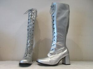 UNBRANDED SILVER SYNTHETIC LACE UP ZIP GO GO GIRL PARTY BOOTS UK 5 (B)