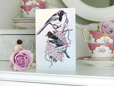 TWO FOR JOY Magpie tattoo handmade Valentine's Day cards