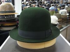 BORSALINO GREEN OPEN CROWN FUR FELT DRESS HAT (READ DESCRIPTION  ABOUT SIZE)