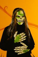 Mens Adult Womens Large Boy Mask Gloves Scary Green Skull Skeleton Zombie NEW