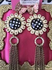 Betsey Johnson Vintage Pattern Garden Checkered Daisy Pink Butterfly Earrings