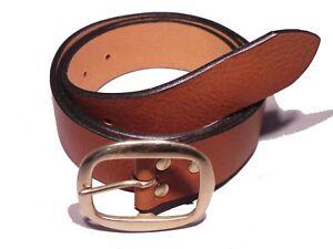 Brass Oval 38mm Width Full Grain Handmade to Measure Leather Belt Waist Size Fit