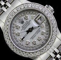 Rolex Ladies Date Datejust Oyster Stainless Diamond Dial Bezel Watch