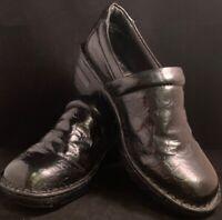 BOC by Born Womens Clogs Mules Shoes Croc Print Black Patent Shoes Sz 8.5/40 EUC