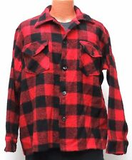 vtg Stampede RED BUFFALO FLANNEL Jacket XL Wool Canada 70s/80s black plaid 46