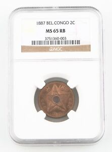 1887 Belgian Congo Free State 2 Centimes Coin MS-65 RB NGC Leopold II KM-2