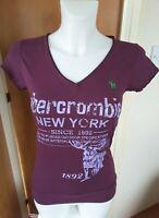 Abercrombie & Fitch Women's T-shirt Size 4 XXS Purple Graphic Print