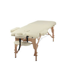 "Heaven Massage Two Fold Beige 2"" Portable Massage Table w/Free Accessories"