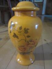 "Vtg Ceramics Orange Tangerine Ginger Jar Floral Scene Oriental? 11"" Tall Lid"
