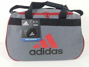 NWT Adidas Diablo Small Duffel Bag Gray/Black/Red Sport Gym Travel Expandable