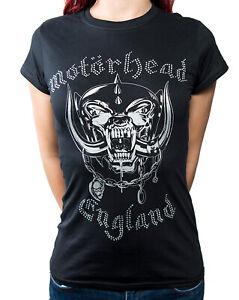 Official Motorhead England Diamante Ladies Black T Shirt Motorhead Ladies Tee