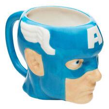 Oficial Marvel Vengadores Capitán América 3d Esculpida Azul Taza Té Café
