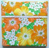 Vtg. WABASSO Bedsheet Flower Power Full Flat Orange Yellow Floral Cotton Crisp!