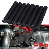 8 Pcs Black 1200° Autos Spark Plug Wire Boot Heat Sleeve Protector Sleeve Covers