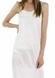 Women Satin Full Slip Lace Trim on Neck with Pleated Bottom - Non Seethrough