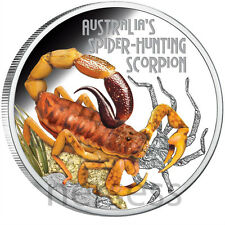 Tuvalu 2014 Spider Hunting Scorpion Deadly and Dangerous II $1 Silver Proof Coin