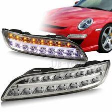 For 2004-2009 Porsche 911 997 Chrome Housing LED Signal Parking Bumper Lights